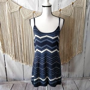 Guess Blue Chevron Design Sleeveless Tank Dress L